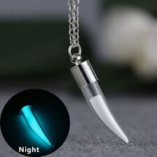 GLOW IN THE DARK Glass Bottle Tooth Pendant Necklace Silver Jewellery Gift Idea