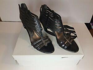 Nine West Pewter Faux Snakeskin Leather Strappy Geels, Sz 6.5. NIB