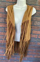 Faux Suede Fringe Vest Medium Brown Boho Hippie Gypsy Festival Rodeo Cowgirl Veg