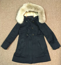 Marc Jacobs Hooded Coyote Fur Jacket Peacoat, Navy Blue, S