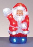 Premier 22cm Acrylic LED Santa Light 24 White LEDs Indoor Use Battery Operated