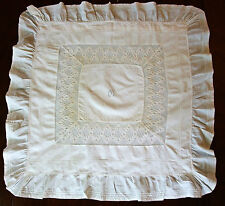 Large Pillowcase xixth lawn fabric festoon embroidered and monogram Outsider