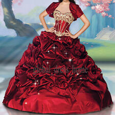 Burgundy Colored Wedding Ball Gown Prom Formal Sweet 15 16 Quinceanera Dresses