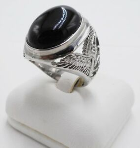 MEN RING BLACK ONYX OVAL STONE SYN STAINLESS STEEL SILVER BIRD SOLITAIRE SIZE 11