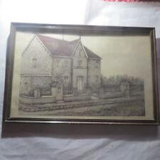 Cadre de bois sous verre avec maison de St Maartens Kerkgemeenschap PEUTIE Kerst