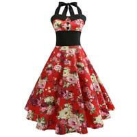Floral women Sleeveless Retro halter Dress vintage Party Summer Swing Dresses