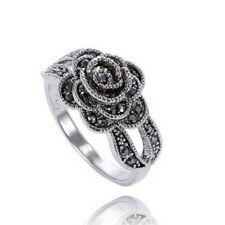 Frauen Retro Rose Blume Ring Schwarz Kristall Vintage Blume Ringe Schmuck NIU