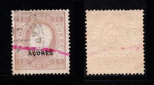 1882 Portugal Azores D. Luis 15 reis #38 Without Gum. ERROR DOUBLE. CERTIFICATE.