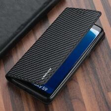 Carbone fibre Flip En Cuir étui pour Samsung Galaxy S8 Plus S9 S10 Portefeuille