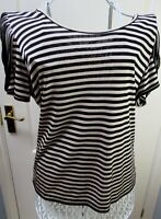 NEW REISS Striped Tate Jersey Top Size Large 14 Black Beige  Epaulettes Quirky