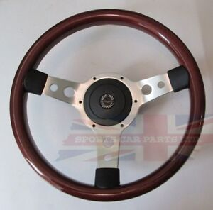 "New 13.5"" Wood Steering Wheel & Hub Adaptor Sunbeam Alpine Tiger"