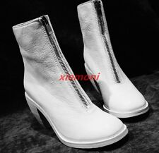 Retro Ladies Punk Ankle Boots High Heel Block Font Zip Round Toe Casual Shoes SZ