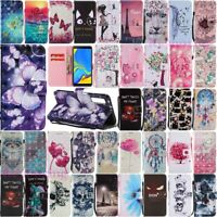 For Samsung Galaxy A6 A7 A8 A9 2018 Wallet Card Holder Flip Leather Case Cover