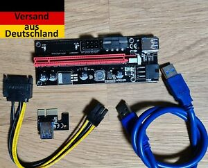 Neuste Version v009 Mining PCI-E 1x - 16x Riser Set (60cm USB 3.0 , 4 Pin Molex)