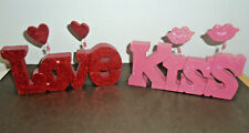 VALENTINE'S DAY DECORATIVE WOOD WORD SIGNS KISS + LOVE LOT OF 2