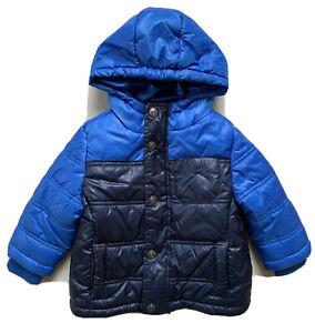 OSHKOSH Baby Boy Winter Puffer Coat Hooded Jacket Full Zip Blue 12 MONTHS