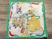 Vintage Disney Pluto and pups with Goofy Childrens Hanky Handkerchief 8 1/2""