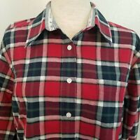 Authentic Rockies Jeanswear Womens L Western Cowgirl Plaid Shirt Red Black