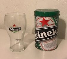 Heineken Glass with Tin Heineken Experience Amsterdam 10oz.