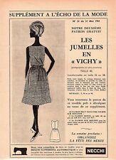 ▬► Patron Couture Écho de la Mode - 1961 N°21 - Taille 42 44 46 - Robe Vichy