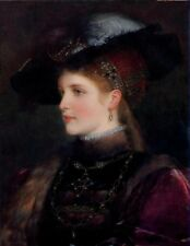 Elegant Lady Portrait Classical Oil painting Printed on Canvas 16x20 Inch P054