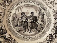 ASSIETTE GIEN MILITAIRE 19è porcelaine opaque LE PRISONNIER