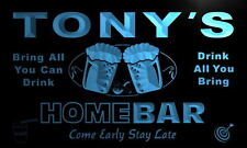 p103-b Tony's Personalized Home Bar Beer Family Name Neon Light Sign