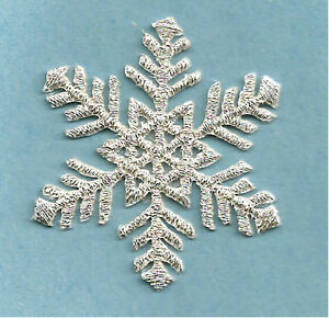 """Snowflake (1.75"""")(4.4CM) Embroidered Silver Metallic Iron On Applique Patch"""