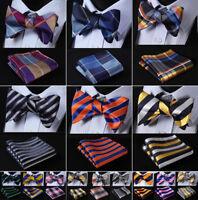 Mens Self Bow Ties Striped Plaid Woven Bow Tie Wedding  Handkerchief Set#R03