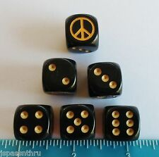 DICE - *6* CHX CUSTOM PEACE SIGNS ON OPAQUE BLACK w/GOLD PIPS & SYMBOL! PEACE!