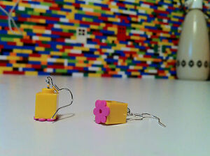 Pair Handmade MonkiStuff Head Silver Dangle/Drop Earrings made from LEGO® pieces