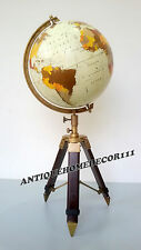 "Vintage Replogle Nautical World Globe 12"" Atlas Map Tripod Stand Christmas Gift"