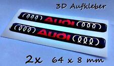2x  Audi 3D Logo Aufkleber-Abzeichen Set für Auto, Handy... Schwarz