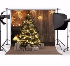 Wood Room Indoor Christmas Tree Photography Backgrounds 10x10ft Vinyl Backdrops