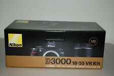 Nikon D D3000 10.2MP Digital SLR Camera Black Kit w AF-S DX VR 18-55mm Lens Mint