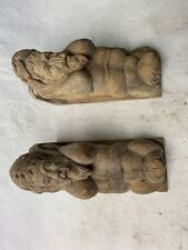PAIR OF ANTIQUE OAK CORBELS 7 1/2 X 5 X 3 INCHES