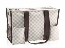 Defect Thirty one zip top Organizing Utility tote 31 gift bag Taupe Gingham B411
