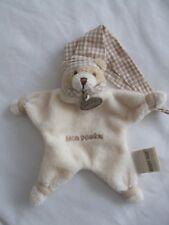 Baby Nat - Mon Doudou plat Ours Ecru vichy beige - 15 cm...P.Etat...
