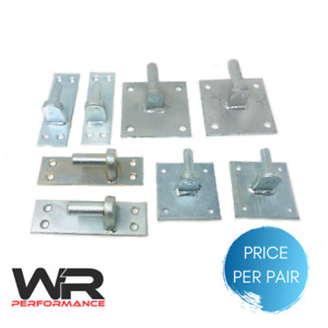 Pair of Galvanised Heavy Duty Gate Hinges Hanger Pins on Square Plates Brackets
