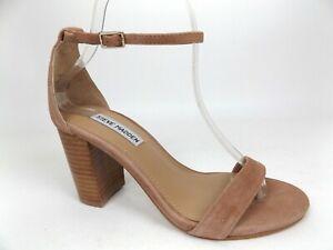 Steve Madden Womens Declairw Dark Tan Nubuck Ankle Strap Heels Size 7.0 WIDE,