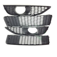 Front Bumper Grill +Fog Light Grille Cover Set of 4 Fit For Audi Q7 2010-2015