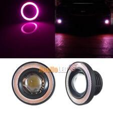 "2pcs High Power White 3.5"" LED Fog Lights w/Pink COB Halo Angel Eye Ring Car"