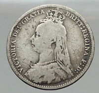 1890 UK Great Britain United Kingdom QUEEN VICTORIA 6 Pence Silver Coin i63049