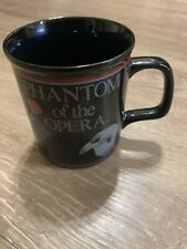 PHANTOM OF THE OPERA - Vintage 1988 Coffee Mug Cup BLACK With RED ROSE & MASK