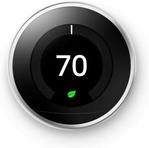 Nest Learning Thermostat - 3rd Generation - Polished Steel-RTN (Used)