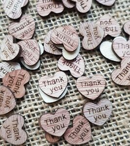 Wood Table Thank You Confetti Wedding Rustic Vintage Wedding Scatter Decor Love