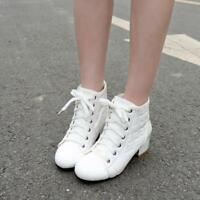 Women's Winter Patent Leather Lace Up Preppy Low Heel Shoes Casual Ankle Boots