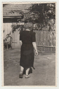 WOMAN Photographed FROM BEHIND While Walking Unusual Snapshot 1950s Old Photo