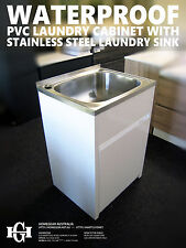 45L Stainless Steel Laundry Tub/Sink w WATER/RUST-PROOF PVC Soft Close Cabinet