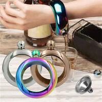 3.5oz Bracelet Bangle Hip Flask 304 Food-Grade Stainless Steel Drinkware Flagon